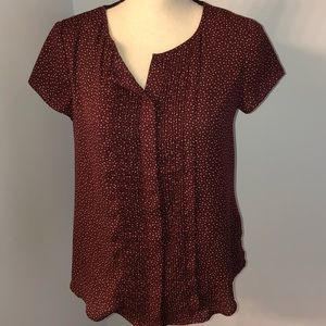 Banana Republic burgundy and tan blouse Size XS